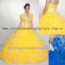 2013 short sleeve bright yellow sweetheart beaded ruffled tiered custom-made Quinceanera dress CWFab4861