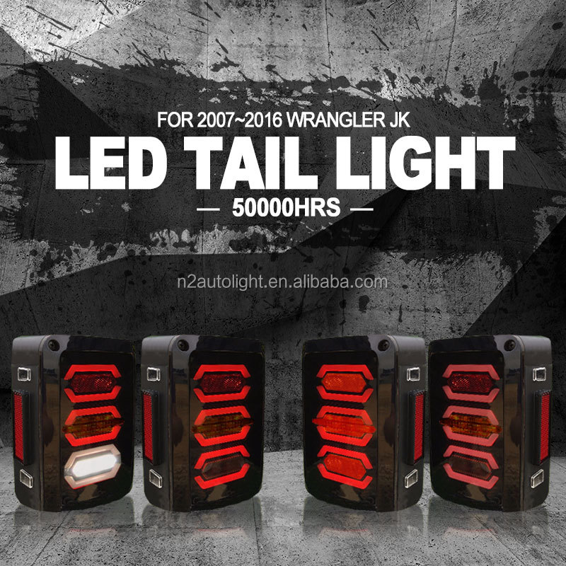 Top Seller 07-16 JK LED Taillights Replacement for Jeep Wrangler with Brake, Turn signal, Reverse and Safety Reflector