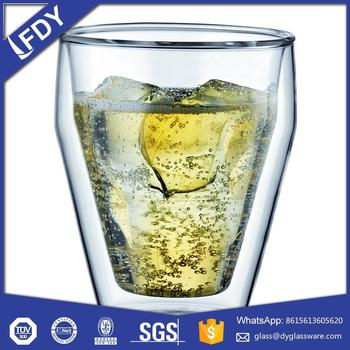 Wholesale double wall beer glass cup /double wall glass teacup souvenir drinking glass