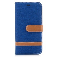 Trendy functional jeans fabric contrast color leather case mobile phone cover for iphone 8