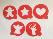 5pcs christmas coffee stencils for cappuccino decorating