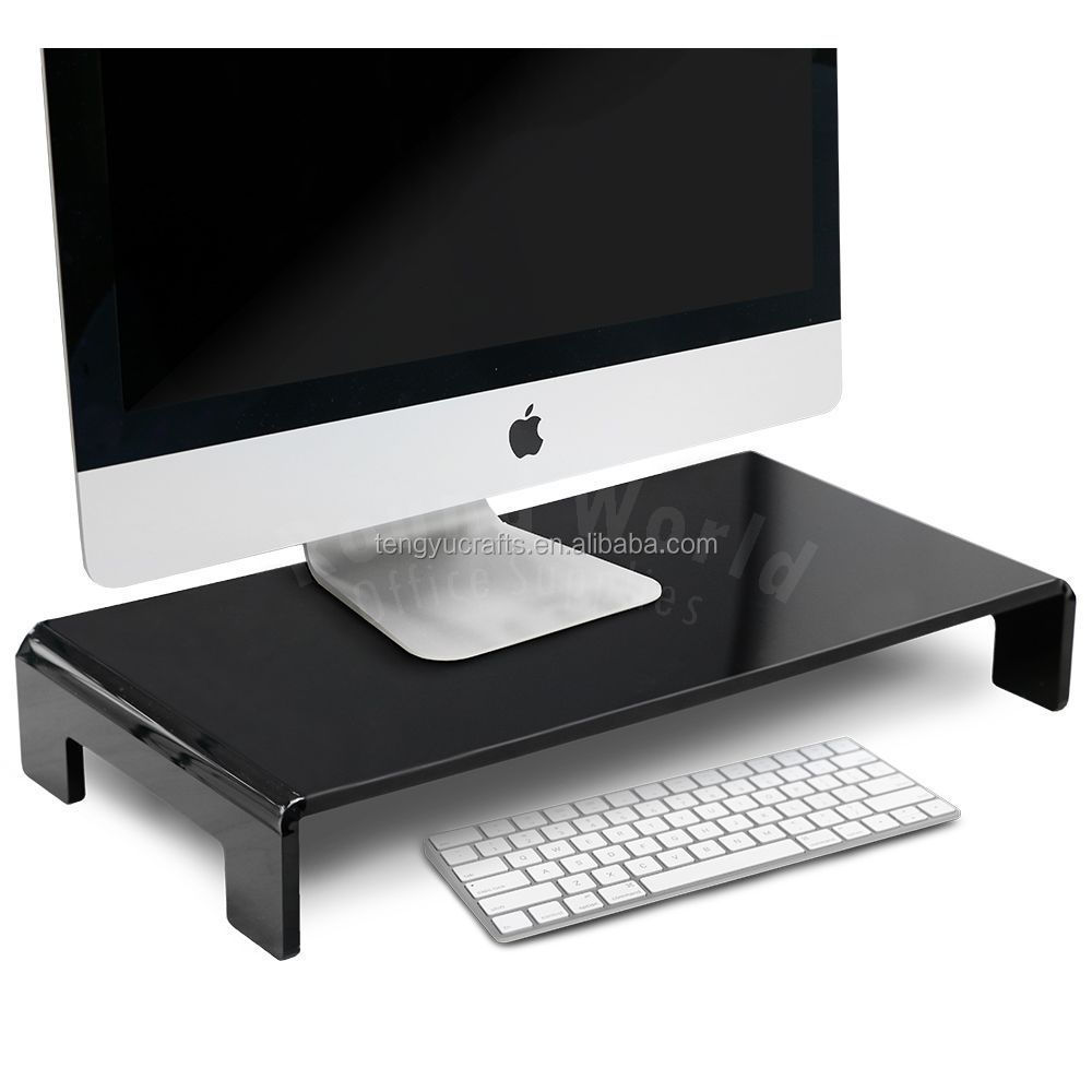 black acrylic plexiglass lucite u shaped laptop notebook TV table holder monitor riser stand for macbook