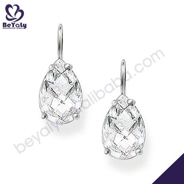 Dazzling easy matching for dress silver drusy quartz earrings