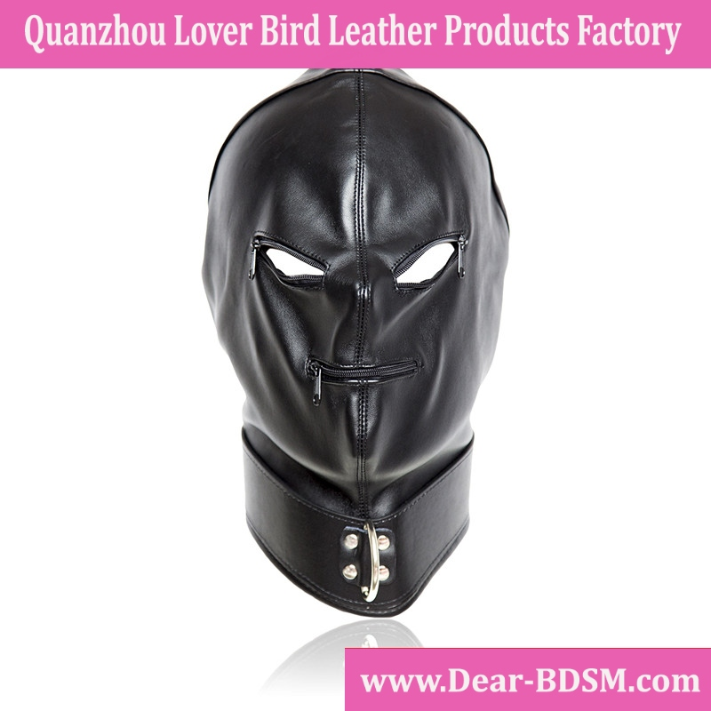 Adult Games Zipper Mouth Faux Leather Sex Mask Sexy Fetish Bondage Mask Hood With Lock Sex Toys For Couples Erotic Toys