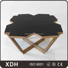 Wholesale polygon black color wooden coffee table
