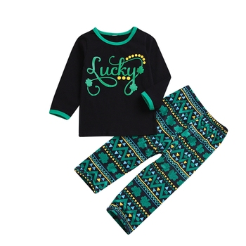 Saint Patrick's Day unisex outfits LUCKY four leaf black top match shamrocks green leggings two pieces sets Paddy's Day suits