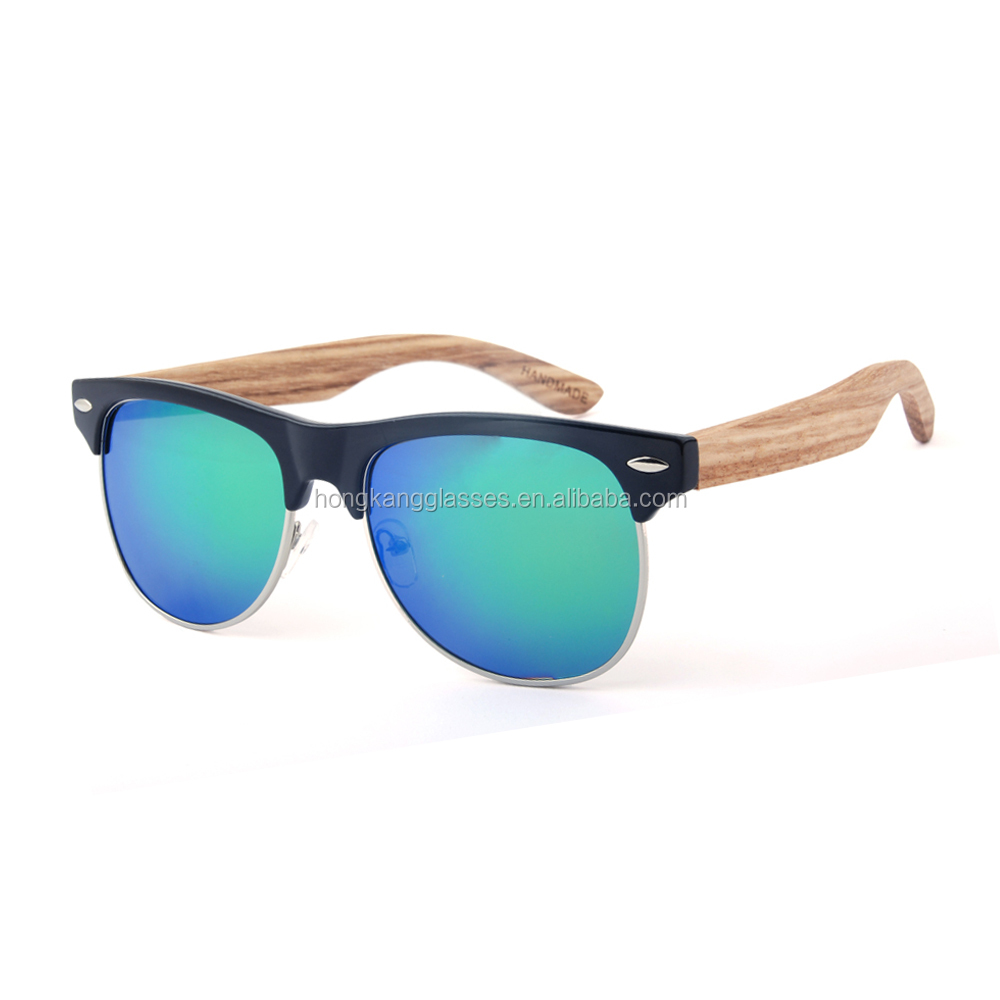 Green mirror spring hinge custom wooden shades eyewear sunglasses women
