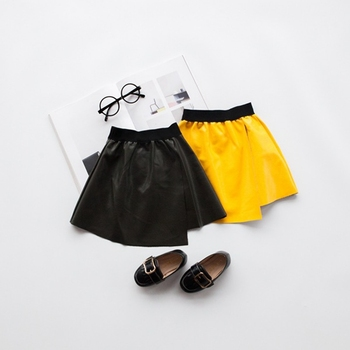 S11248B Simple solid color leather skirt 2018 new children's half skirt