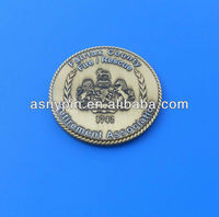 metal world challenge coin, 3D brass and silver coin