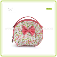 Pink Bow Decoration Ladies Elegent Personalized Makeup Bag With Handle