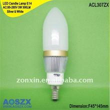 Factory direct wholesale! 12V 110V 220V 3W E14 LED candle light bulb 300LM +48hr test ACL307ZX
