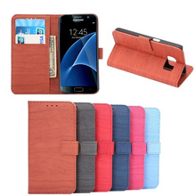 Factory Price Multi Color Wooden Pattern PU Leather Diary Case for Samsung Galaxy S7