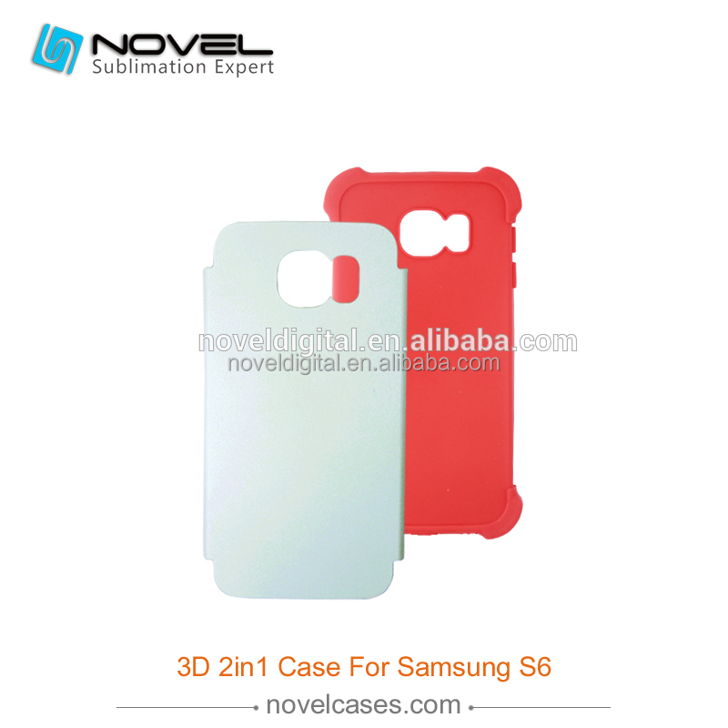Latest Sublimation 3D 2 in 1 Rubber Phone Case for Samsung Galaxy S6 G9208/9209, 3D Sublimation Blanks