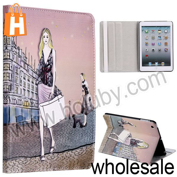 Elegant Girl Pattern Stand Folio Cover Leather Case for iPad Mini/Retina iPad Mini with Elastic Strap