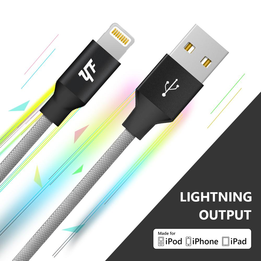 YF MFi certified colorful fishnet braided usb charging mfi cable for apple iphone X