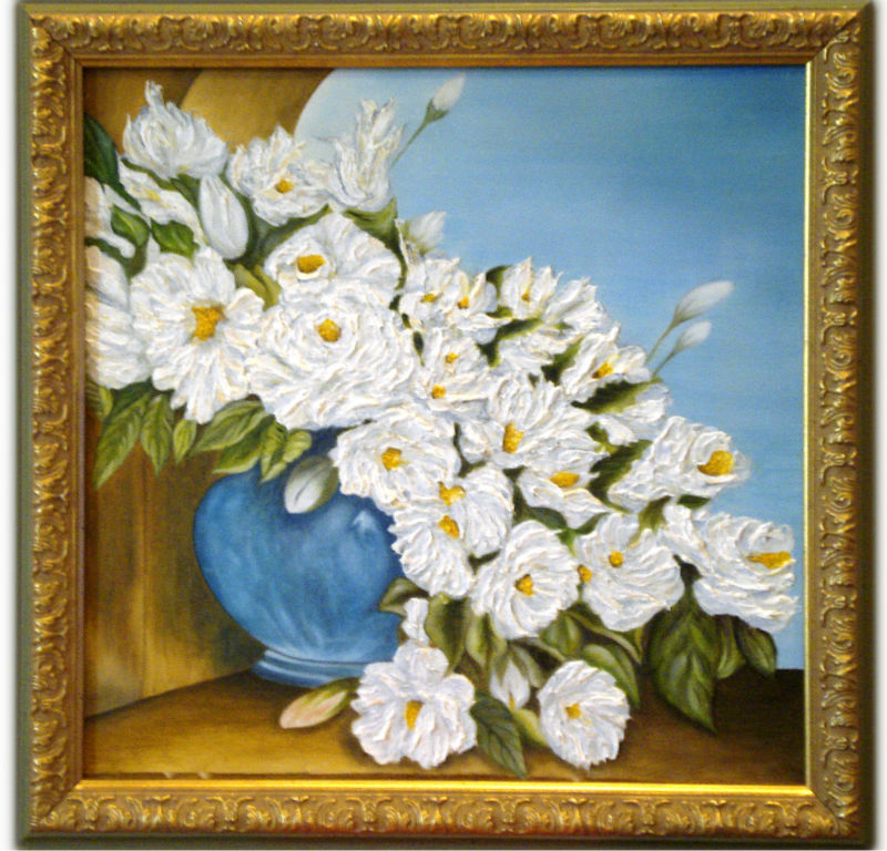 Oil painting The White Flowers, handmade Still Life.