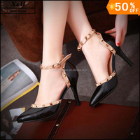 Women High Heels Rivets Pum shoes Ladies Sexy Pointed Toe pumps Buckle Studded Stiletto Nude Heels Dress & Party Wedding Shoes