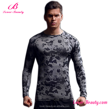 Hot sale long sleeve camou flage padded compression shirt mens