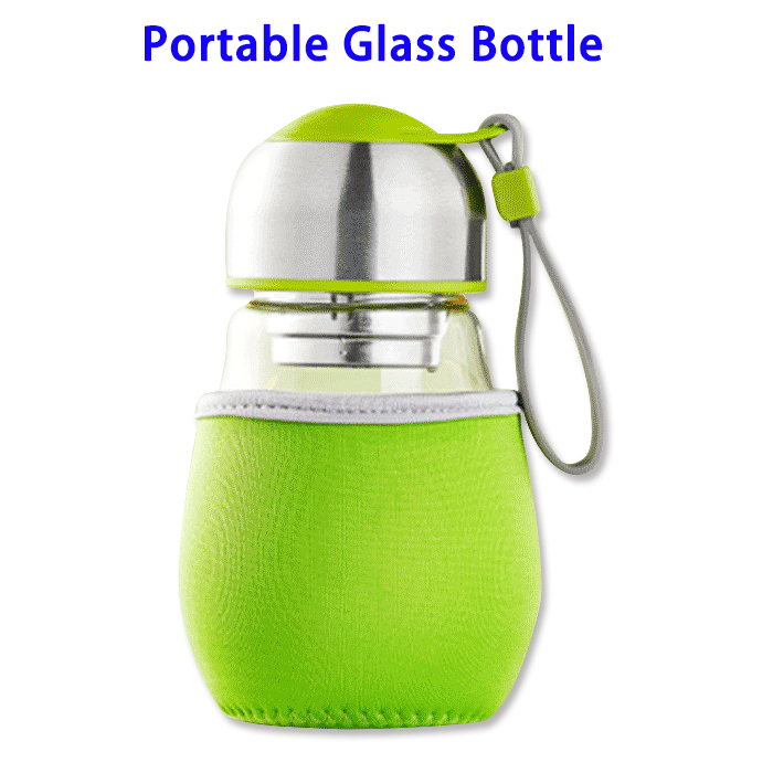 400ml Outdoor Sports Portable Glass Water Bottle with Tea Strainer