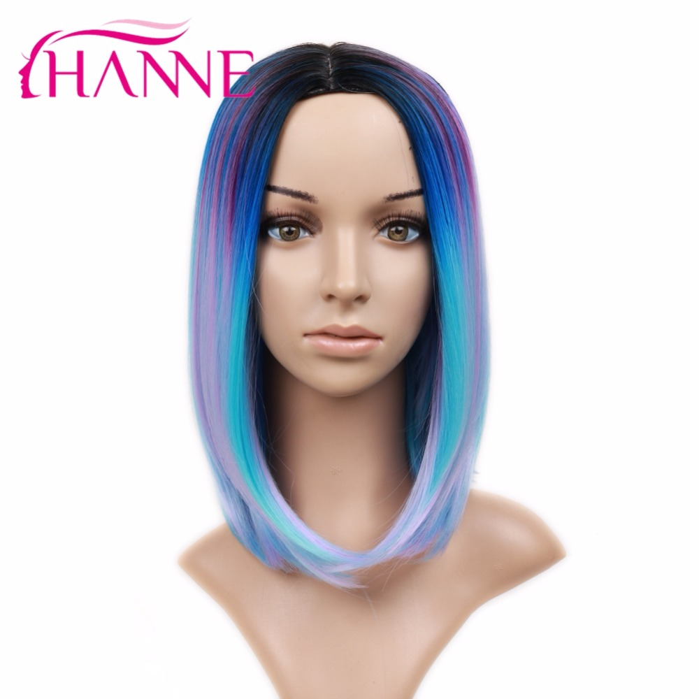 Hanne Synthetic Hair Wigs Fashion Blue Colorful Short Hair Bob Synthetic Wig For Young Lady Summer Wear