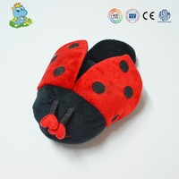 China Factory OEM Ladybug animal color plush slippers