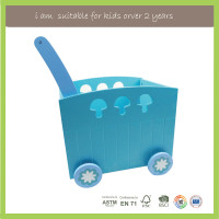 Children Play New Design Block and Roll Cart Wooden Push And Pull Toy