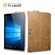ICARER Genuine Leather Case for Microsoft Surface Pro 4 Back Cover with Stand Function Luxury Series