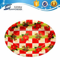 Sell Well New Type Christmas Oval Plastic Christmas Plates Disposable