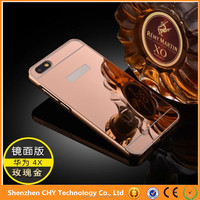 luxury electroplated aluminum metal bumper mirror plastic case back cover for huawei honor 4x