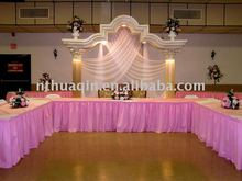 polyester shirred table skirting table skirts for wedding and banquet