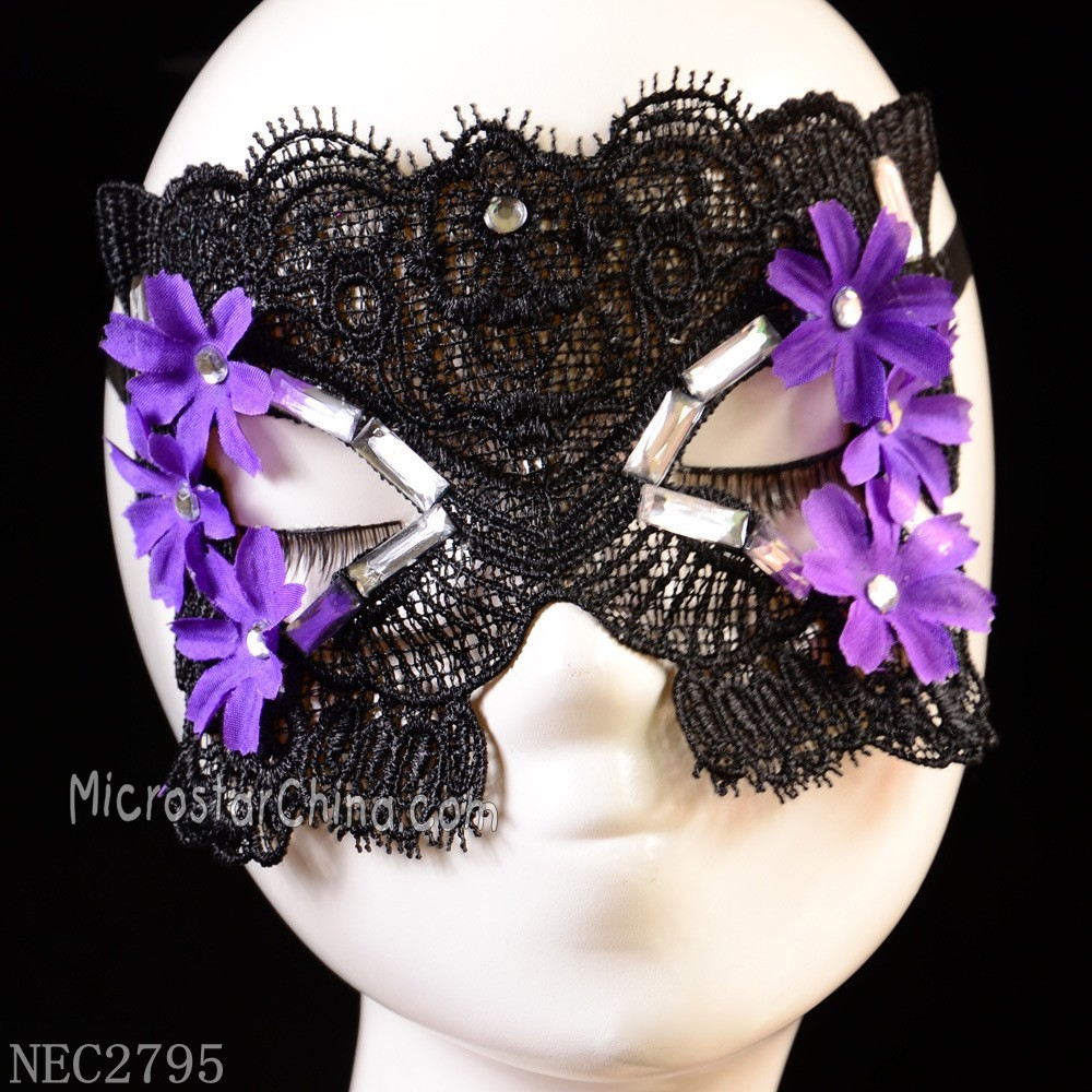 Purple Flower 3D Lace Mask