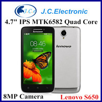 Original Cell Phones Lenovo S650 Quad Core Smart Phone 4.7 inch MTK6582M 1.3GHZ Android 4.2 1GB RAM 8GB 8.0MP Camera