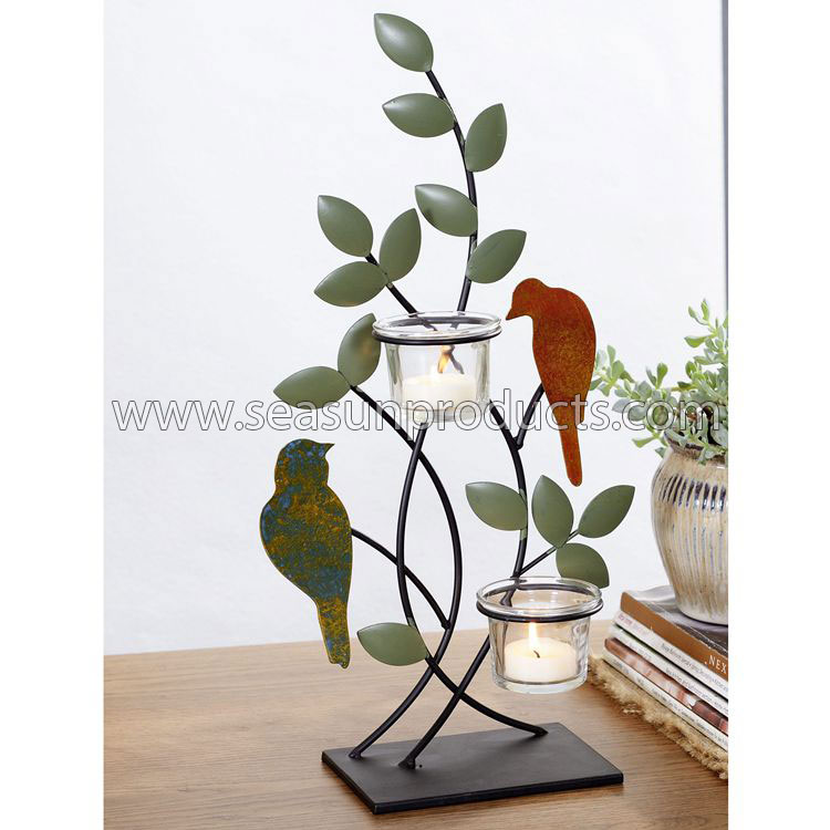 China metal candle holder with birds and leaves design