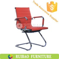 Modern Design Aluminium Alloy Armrest And Base Executive Leather Office Chairs Without Wheels