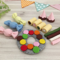 2018 hand stitched toy kitchen for children OEM cute funny real kitchen children cooking play toy custom felt food toddler toys