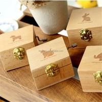 handmade hand crank cartoon wooden metal music box wooden music box