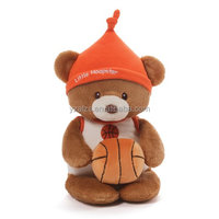 Lovely Toy Plush Teddy Bear in Hat With a Basketball