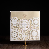 wishmade design wholesale square laser cut invitation card for wedding/ birthday event greeting cw5191
