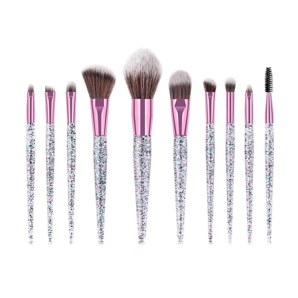 <strong>Beauty</strong> Needs Natural Synthetic Glitter Handle Makeup Brush Set