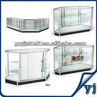 Multifunction use cigarette display cabinet, corner showcase design for display glass shelves