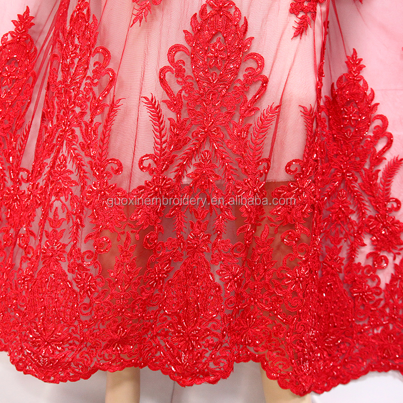 2018 fashion latest lace design for ladies wedding dresses with heavy handwork guipure embroidery