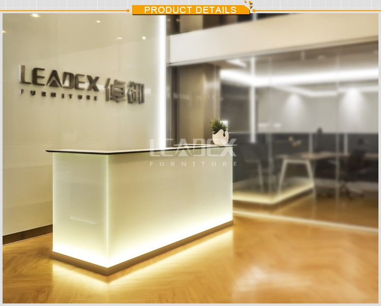 New office furniture front desk counter with glass top reception desk