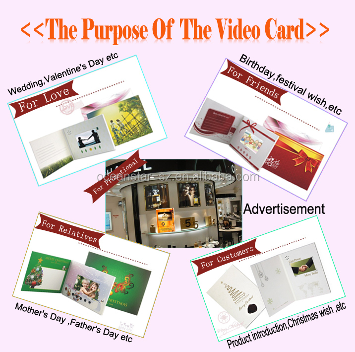 High quality digital lcd 7 inch video booklet with printing,7 inch video booklet