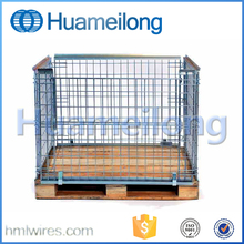 Stackable mesh folding storage metal pallet cage