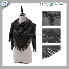 Grey color lace trimming knitted triangle shawl
