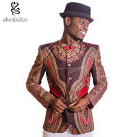 Custom Spring African Wax Dashiki Print Fabrics Blazer Men Coats