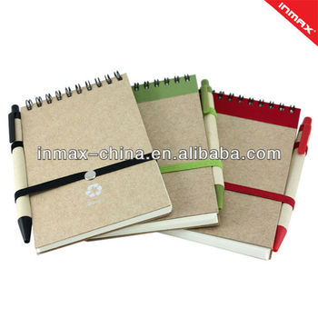 Hot selling Eco Recycled paper spiral notepad with pen