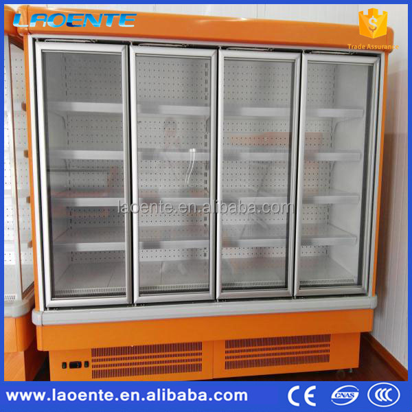 Supermarket upright freezer drinks display showcase fridge with glass door