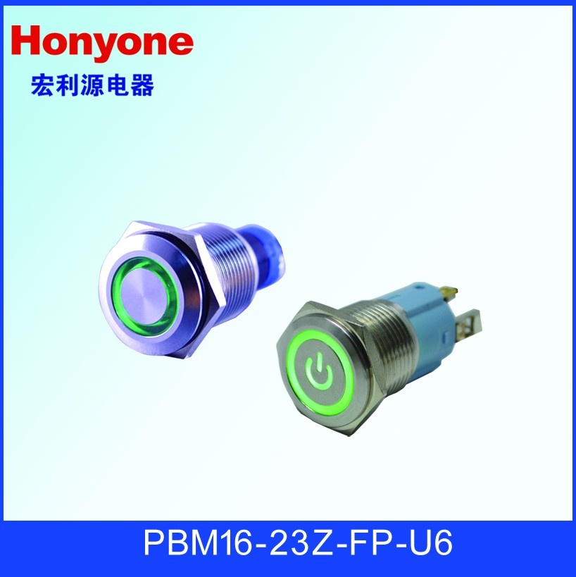 Honyone PBM16 16mm IP67 Red Green dual color led indicator Push button switch