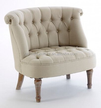 European Style Living Room Buttoned beige Upholstered loveseat Tub Chair